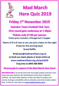 Mad March Hare Quiz 2019 Poster