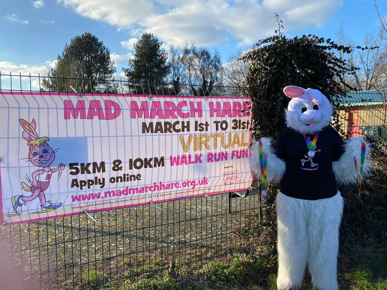Mad March Hare with Banner
